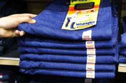 Wrangler jeans are displayed at a store in Hayward, Calif.