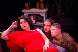 Veronica Anastasio Wiseman, Mattie McMaster, and Jason Karos in 'Timbuktu USA' continuing through September 2 at Boston Playwrights' Theatre.