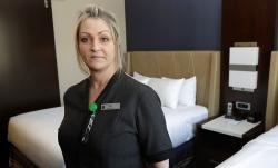 Rani Accettola, a housekeeper at the Embassy Suites by Hilton hotel.