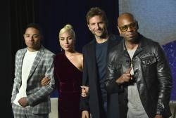 "Anthony Ramos, from left, Lady Gaga, Bradley Cooper and Dave Chappelle attend the press conference for ""A Star Is Born"" on day 4 of the Toronto International Film Festival."