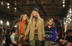 Models walk the runway at the Ralph Lauren 50th Anniversary Fashion Show during New York Fashion Week.