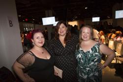 Lillian Bustle, Joy Nash and Jen Ponton pose at the presentation of the Loft spring 2019 collection.