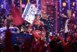 Netta Barzilai from Israel celebrates after winning the Eurovision song contest in Lisbon, Portugal.