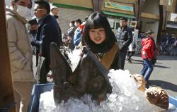 A woman looks at head of bluefin tuna on display in front of a store at Tsukiji fish market in Tokyo.
