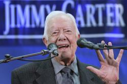 Former President Jimmy Carter, 93, answers questions from students during his annual town hall with Emory University freshman in the campus gym on Wednesday, Sept 12, 2018, in Atlanta