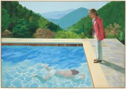 "This undated photo provided by Christie's Images Ltd. 2018, shows a painting by David Hockney entitled ""Portrait of an Artist (Pool with Two Figures)."""