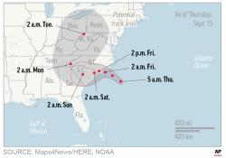 Map shows probable path of Hurricane Florence