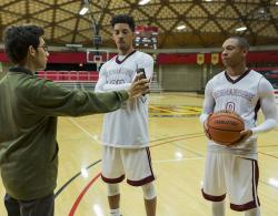 "Tyler Alvarez, left, Melvin Gregg, center, and DeRon Horton appear in a scene from Netflix's ""American Vandal"" Season 2."
