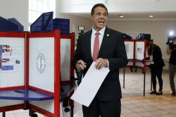 New York Gov. Andrew Cuomo speaks as he marks his primary election ballot at the Presbyterian Church of Mount Kisco, in Mount Kisco, N.Y.