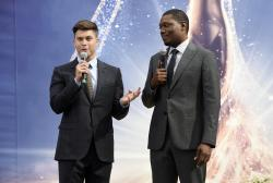 Colin Jost, left, and Michael Che, co-hosts for the 70th Emmy Awards, speak to the media before rolling out the gold carpet outside the Microsoft Theatre.