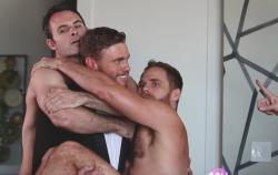 "Daniel Vincent Gordh, left, Gus Kenworthy, center, and Matt Wilkas, right, in a sketch for ""Matt & Dan."""