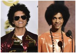 This combination photo shows Bruno Mars in the press room with his awards at the 60th annual Grammy Awards in New York on Jan. 28, 2018, left, and Prince presenting the award for album of the year at the 57th annual Grammy Awards in Los Angeles on Feb. 8, 2015