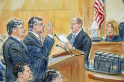 This courtroom sketch depicts former Donald Trump campaign chairman Paul Manafort, center, and his defense lawyer Richard Westling, left, before U.S. District Judge Amy Berman Jackson, seated upper right, at federal court in Washington, Friday, Sept. 14, 2018, as prosecutors Andrew Weissmann, bottom center, and Greg Andres watch