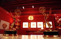 In this Sept. 13, 2018 file photo, Emmy Award statuettes are displayed inside the Lindt Chocolate Lounge inside the Microsoft Theatre in Los Angeles