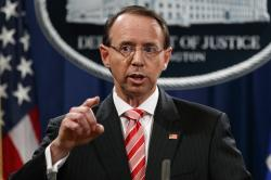 In this July 13, 2018, file photo, Deputy Attorney General Rod Rosenstein.