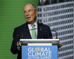 In this Sept. 13, 2018, file photo, Michael Bloomberg, the UN Secretary-General's Special Envoy for Climate Action, speaks during the plenary session of the Global Action Climate Summit in San Francisco