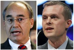 This panel of file photos show U.S. Rep. Bruce Poliquin in 2017, left, and state Rep. Jared Golden in 2018, right, in Maine