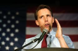 Josh Hawley speaks after securing the Republican nomination for U.S. Senate in Missouri during the GOP watch party at the University Plaza Convention Center in Springfield, Missouri.