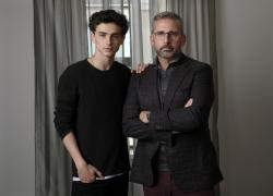 Timothee Chalamet, left, and Steve Carell