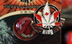 In this Sept. 24, 2018 photo, a pin promoting Crop King Seeds, with the colors and maple-leaf logo of the Canadian flag, is displayed on a package of marijuana seeds for sale at the Warmland Centre, a medical marijuana dispensary in Mill Bay, British Columbia, on Vancouver Island in Canada