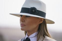 First lady Melania Trump pauses as she speaks to media during a visit to the historical Giza Pyramids site near Cairo, Egypt.