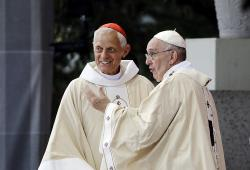 Cardinal Donald Wuerl, archbishop of Washington, left, talking with Pope Francis in 2015.