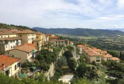 A view from the top of medieval hill town Cortona, in the province of Arezzo in the Tuscany region of Italy.
