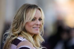 Stormy Daniels attends the opening of the adult entertainment fair 'Venus' in Berlin, Germany.