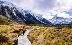Hooker Valley trail, Mount Cook National Park, New Zealand.