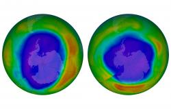 This combination of images made available by NASA shows areas of low ozone above Antarctica on September 2000, left, and September 2018