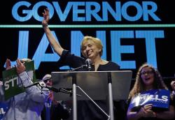 Maine gubernatorial candidate, Democrat Janet Mills celebrates her victory at her election night party, Tuesday, Nov. 6, 2018, in Portland, Maine