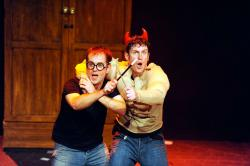 "Joseph Maudsley and James Percy in ""Potted Potter — The Unauthorized Harry Experience"" that continues through November 24 at the Cutler Majestic Theatre in Boston."