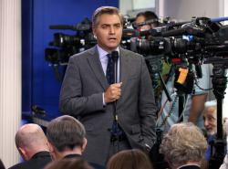 In this Aug. 2, 2018 file photo, CNN correspondent Jim Acosta does a stand up before the daily press briefing at the White House in Washington