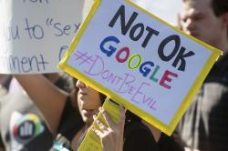 In this Nov. 1, 2018, file photo workers protest against Google's handling of sexual misconduct allegations at the company's Mountain View, Calif., headquarters