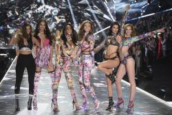 Barbara Palvin, from left, Yasmin Wijnaldum, Winnie Harlow, Gigi Hadid, Kendall Jenner and Alexina Graham walks the runway during the 2018 Victoria's Secret Fashion Show at Pier 94 in New York.