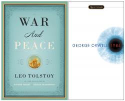"This combination photo shows covers of classic books, ""War And Peace,"" by Leo Tolstoy, left, and George Orwell's ""1984."""