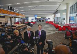 New York's Governor Andrew Cuomo, right, and Rick Cotton, left, executive director of the Port Authority, inside the new Terminal B in LaGuardia Airport.