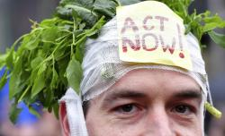 A demonstrator wears a headband stuffed with greens and a sign.
