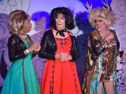 "Qya Cristal, Ryan Landry and Scott Martino in ""A Nightmare on Elf Street,"" which runs through December 23 at Boston's Machine nightclub."
