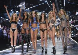 Models Martha Hunt, from left, Lais Ribeiro, Josephine Skriver, Sara Sampaio, Stella Maxwell and Romee Strijd walk the runway during the 2018 Victoria's Secret Fashion Show in New York.