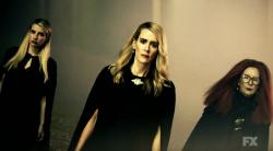 """From left to right: Emma Roberts, Sarah Paulson and Frances Conroy appear in a trailer for """"American Horror Story: Apocalypse."""""""