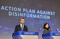 European Commissioner for Digital Single Market Andrus Ansip, left, and European Commissioner for Justice Vera Jourova participate in a media conference at EU headquarters in Brussels, Wednesday Dec. 5, 2018