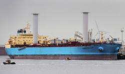Finnish startup company Norsepower installed its rotor sail technology on the Maersk Pelican tanker, Aug. 29, 2018, in Rotterdam, Netherlands, in the first such installation on a tanker as the shipping industry tries new solutions in an effort to cut greenhouse gas emissions