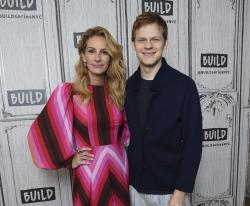 "Actors Julia Roberts, left, and Lucas Hedges pose together backstage at the BUILD Speaker Series to discuss the film ""Ben Is Back"" at AOL Studios."