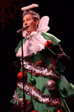 Shawn Ryan in his Christmas tree costume at a 2016 REAF benefit concert