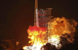 In this photo released by Xinhua News Agency, the Chang'e 4 lunar probe launches from the the Xichang Satellite Launch Center in southwest China's Sichuan Province, Saturday, Dec. 8, 2018