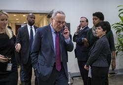 Senate Minority Leader Chuck Schumer, D-N.Y., leaves a closed-door security briefing by CIA Director Gina Haspel on the slaying of Saudi journalist Jamal Khashoggi and the involvement of the Saudi crown prince, Mohammed bin Salman, at the Capitol in Washington, Tuesday, Dec. 4, 2018