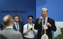 Billionaire Democrat Tom Steyer speaks during a reception at the U.S. Climate Action Center inside the COP24 global climate talks in Katowice, Poland, on Friday, Dec. 7, 2018