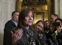 General Motors CEO Mary Barra speaks to reporters after a meeting with Sen. Sherrod Brown, D-Ohio, and Sen. Rob Portman, R-Ohio, to discuss GM's announcement it would stop making the Chevy Cruze at its Lordstown, Ohio, plant, part of a massive restructuring for the Detroit-based automaker, on Capitol Hill in Washington, Wednesday, Dec. 5, 2018