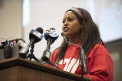 Stacy Davis Gates, vice president of the Chicago Teachers Union, speaks during a news conference at the CTU headquarters in Chicago on Sunday, Dec. 9, 2018